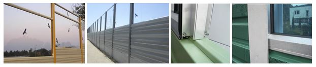 Kombinacija transparentnih in aluminijskih panelov proti hrupu
